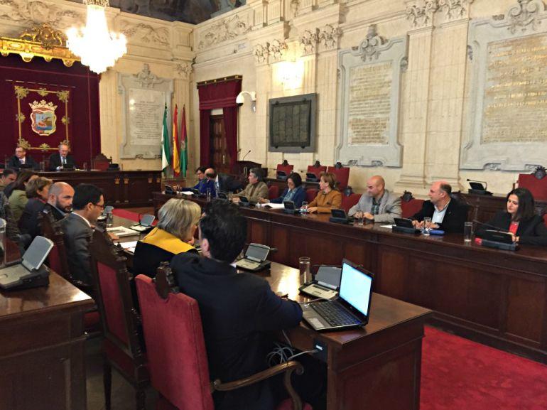 Imagen del pleno del ayuntamiento de Málaga con la bancada vacía de los concejales de IU y del edil no adscrito Carlos Hernández Pezzi