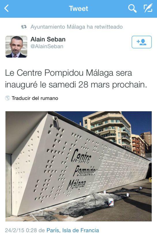 El ayuntamiento confirma por twitter que el Pompidou se inaugurará el 28 de marzo