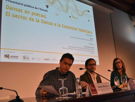Albert Moncusi,del Departamento de Sociología y Antropología Social de la Universitat de València, Miguel Tornero, presidente de la Asociación de Profesionales de la Comunidad Valenciana  (APDCV) y Carolina Ponce, socióloga