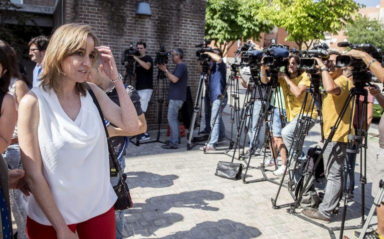 Tania Sánchez, excandidata autonómica de IU y exconcejal en Rivas, a su llegada de los juzgados de Arganda del Rey.