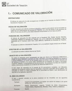 Informe de la Sociedad de Tasación sobre las viviendas del IVIMA