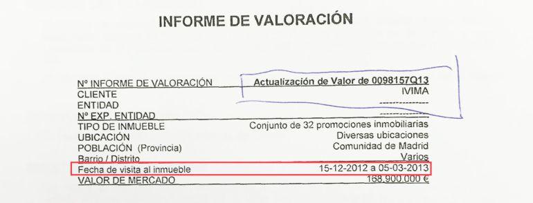 Documento que prueba que la tasación se encargó cuatro días después de la celebración del Consejo de Administración del IVIMA