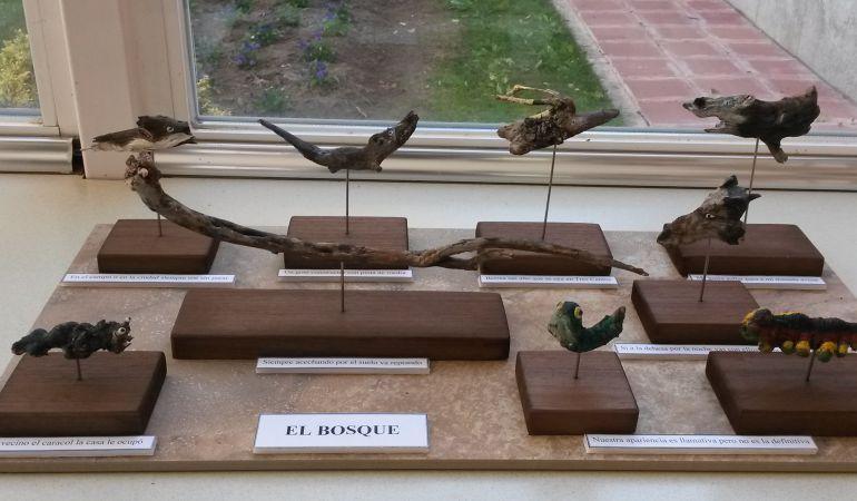 Piezas de la exposición Maderauna de Rocío Morcillo. En el Aula de la Naturaleza de Sanse hasta el 18 de diciembre