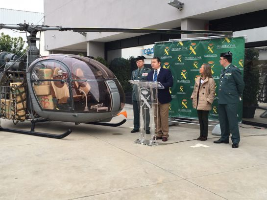 La Guardia Civil interviene dos helicópteros y 615 kg de hachís