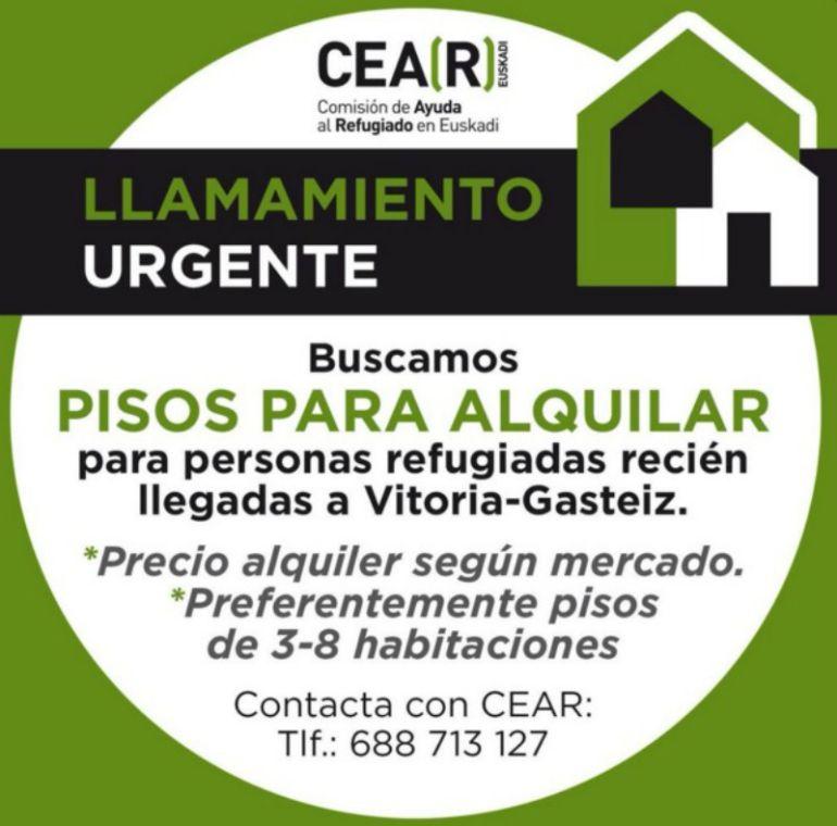 Cear pide urgentemente pisos en vitoria para refugiados for Pisos com vitoria