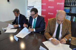 Firma del convenio para el vivero industrial en Palmones en la Cámara de Comercio.