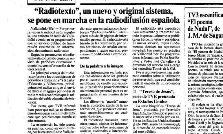 Recorte del periódico La Vanguardia del 10 de diciembre de 1985