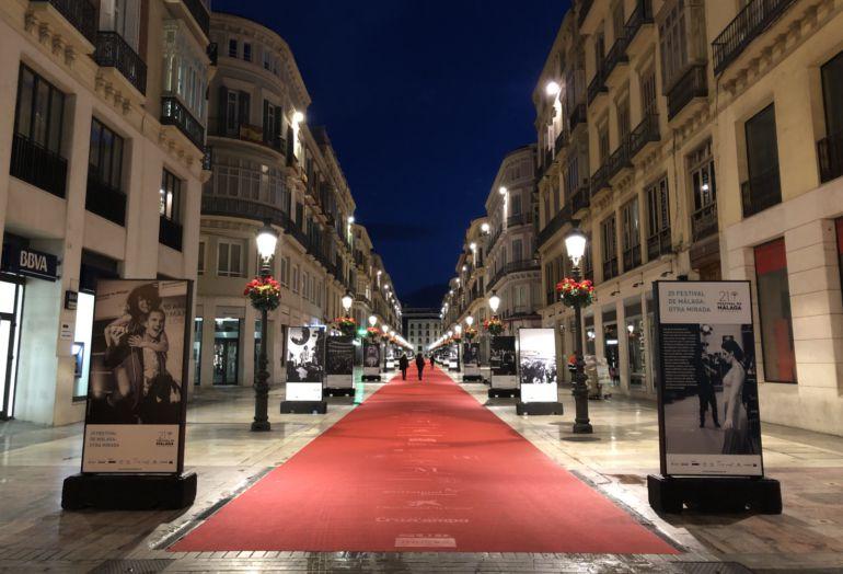 La alfombra roja en calle Larios (Málaga)