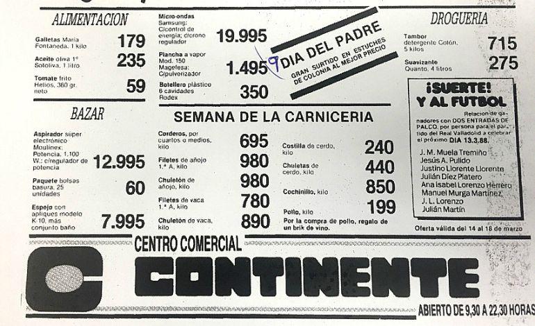 Recorte de prensa de un anuncio con ofertas del hipermercado Continente en 1988