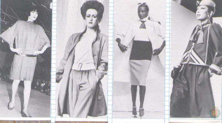 Varias modelos lucen prendas típicas de los años 80