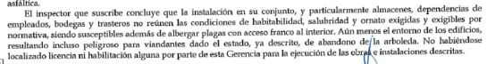 Extracto del informe de la Gerencia Municipal de Urbanismo del ayuntamiento de Málaga sobre la inspección a los Baños del Carmen