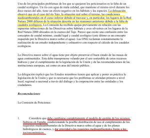Extracto del informe en el que se lee (subrayado en amarillo) una de las observaciones y (subrayado en rojo) una de las recomendaciones