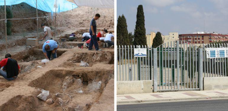 Imágenes de la fosa número 8 del cementerio de San Rafael a la izquierda y del 'pipi can' instalado sobre la fosa a la derecha