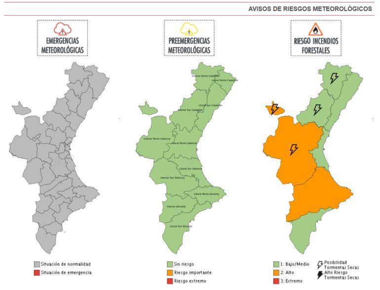 Riesgo alto de incendio en el interior y sur de la Comunitat Valenciana