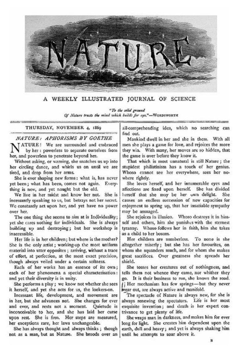 Primer número de la revista Nature archivado en Peñarroya