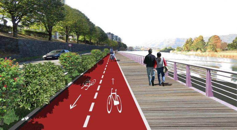 Infografía de la pasarela y carril bici junto al río Bidasoa