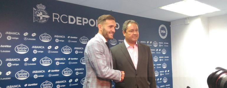 Lucas Pérez en rueda de prensa tras su marcha del Deportivo