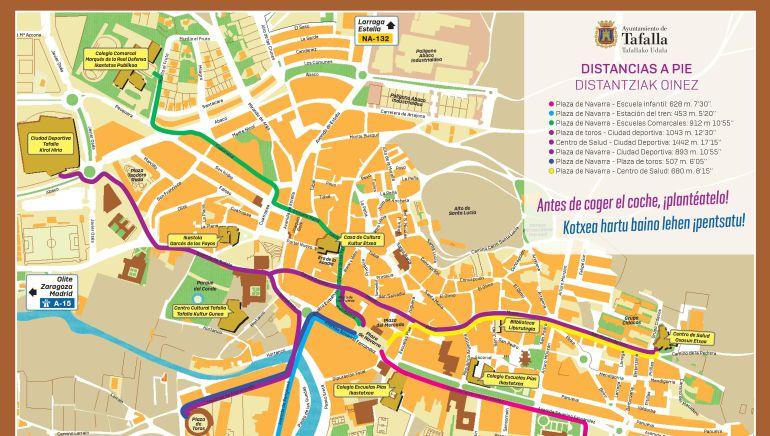 Mapa distribuido por el Ayuntamiento de Tafalla