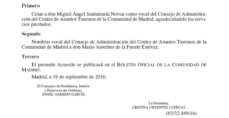 Publicación del BOCAM donde se recoge el cese de Miguel Ángel Santamaría