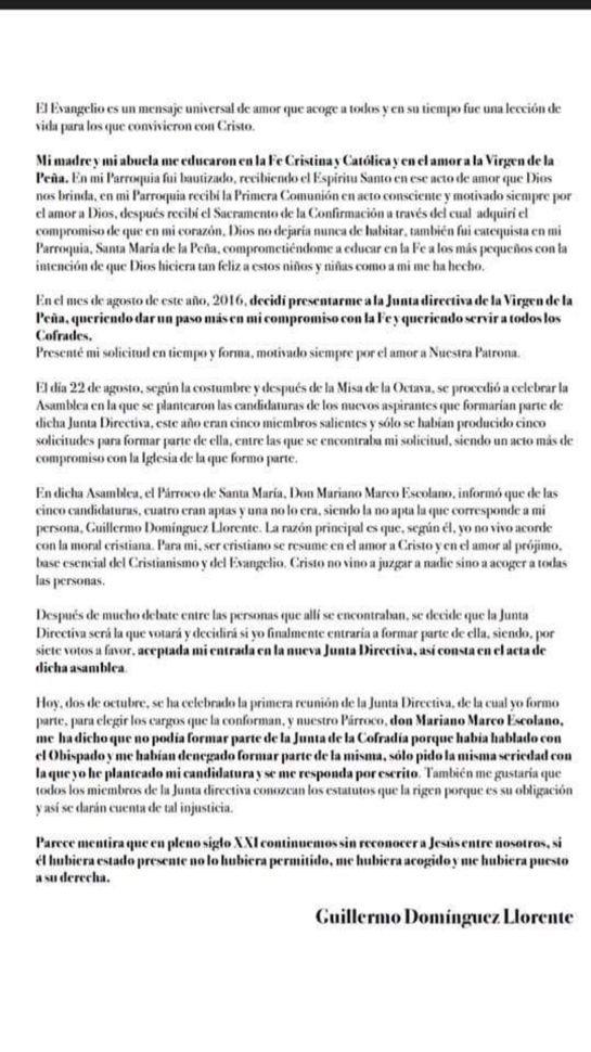 El Obispado veta a un cofrade en Brihuega por su orientación sexual