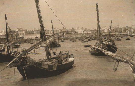 Imagen histórica del puerto de Cádiz