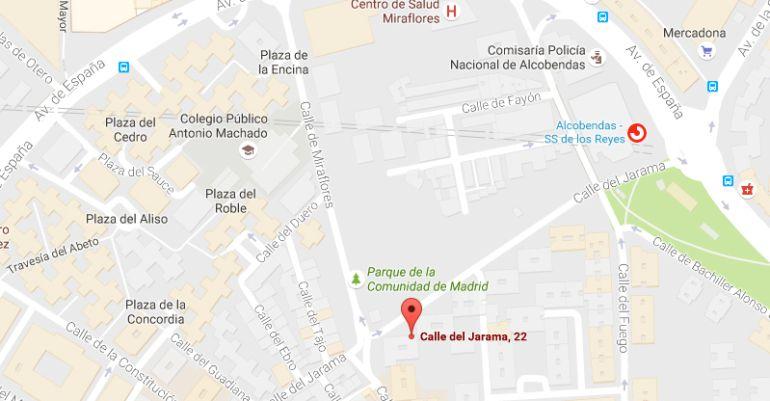 Ubicación del edificio y de la estación de Cercanías Alcobendas-San Sebastián de los Reyes