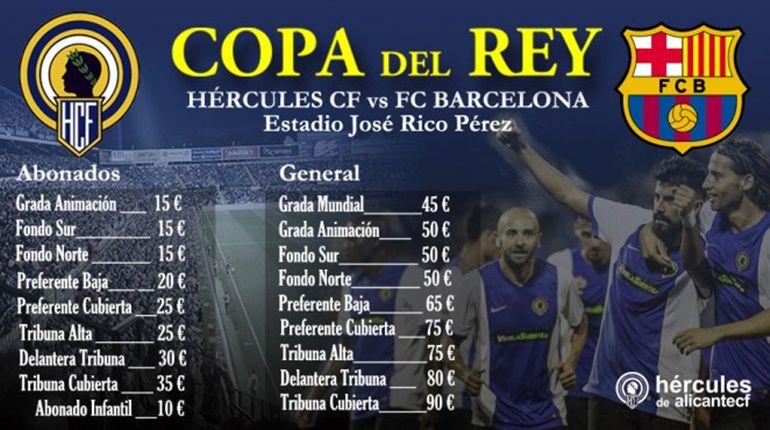 Precios de las entradas del partido de Copa del Rey entre el Hércules CF y el FC Barcelona