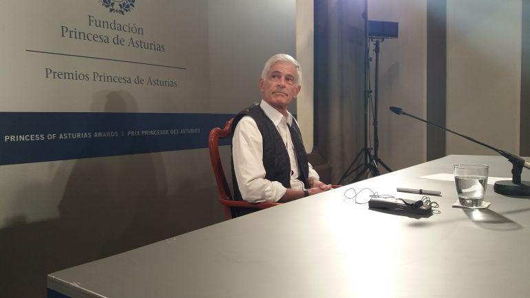 El fotoperiodista James Nachtwey durante la rueda de prensa como galardonado con el Premio Princesa de Asturias de Comunicación y Humanidades.