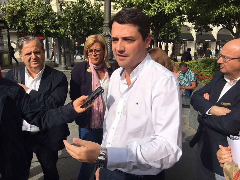 José María Bellido durante la rueda de prensa hoy en las Tendillas