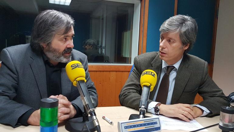 Fernando Collado y Carlos Pajares en el estudio de la Ventana