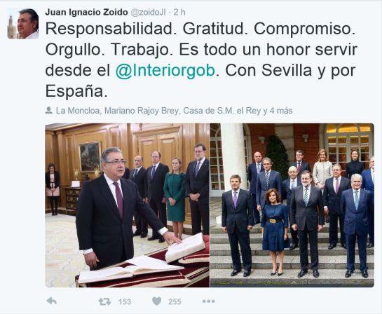 Zoido jura como Ministro del Interior: Juan Ignacio Zoido jura su cargo como nuevo ministro del Interior