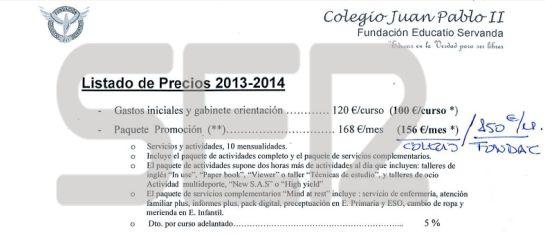 Documento del Colegio Juan Pablo II de Alcorcón con el listado de precios 2013-2014.