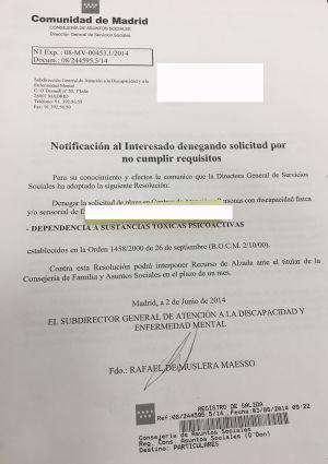 Denegación de la solicitud por consumo de sustancias