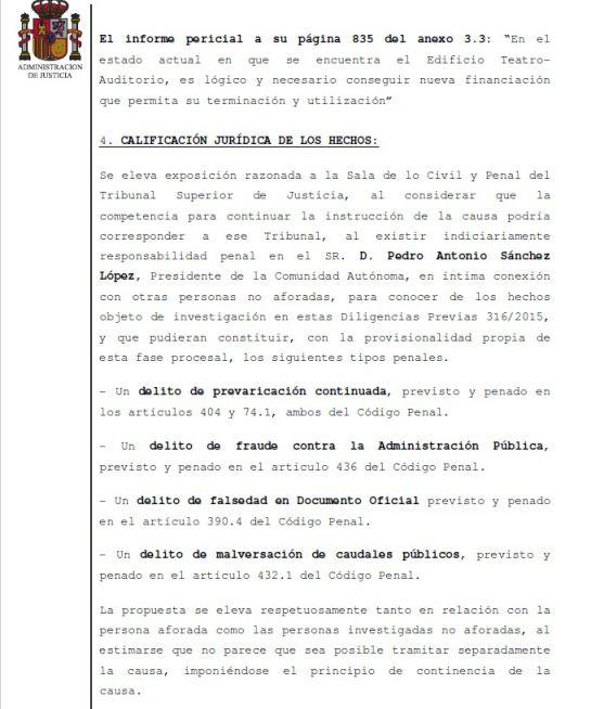 La jueza de Lorca envía el caso Auditorio al TSJ al ver indicios de delito en la actuación de Pedro Antonio Sánchez