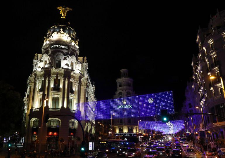 Iluminación de la calle Gran Vía tras el encendido del alumbrado público navideño de Madrid.