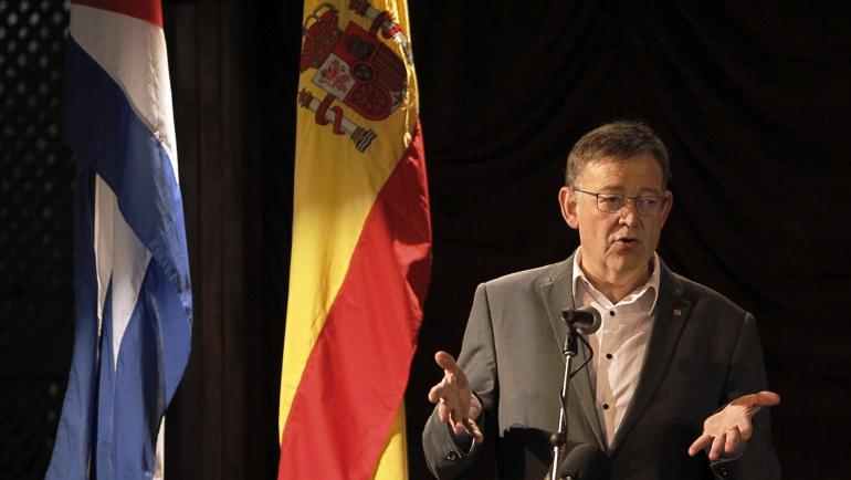 El President de la Generalitat Valenciana, Ximo Puig, en su intervención en un foro de negocio entre empresarios de Valencia y Cuba, en La Habana.
