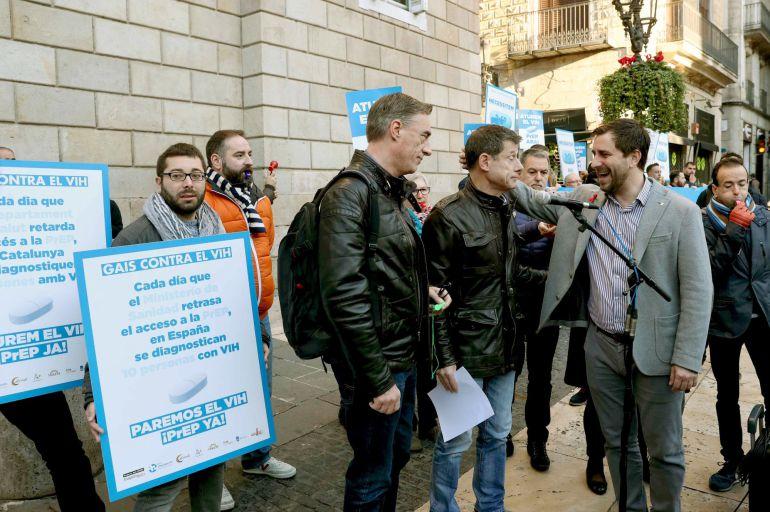 """Protesta de la Plataforma """"Gais contra el VIH"""" en favor una medicación preventiva contra el VIH en Barcelona"""