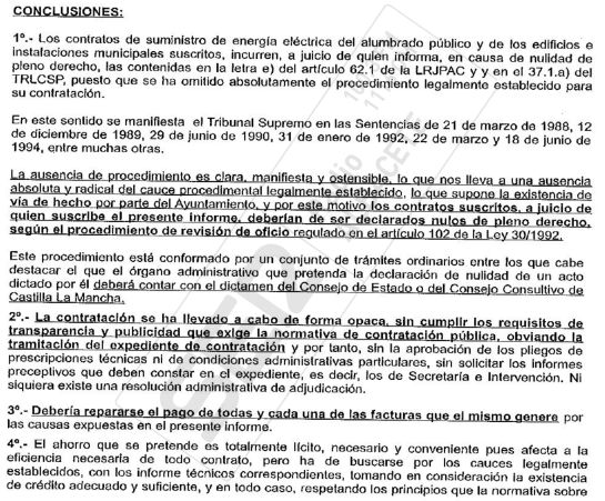 Conclusiones del informe de la Secretaria Municipal