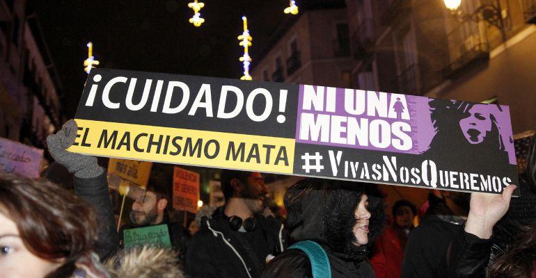 Un momento de la manifestación convocada por la Coordinadora Feminista Estatal en Madrid con motivo del Día Internacional por la Eliminación de la Violencia hacia las Mujeres