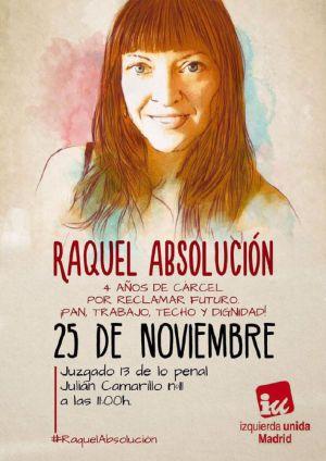 Carteles de apoyo a Raquel Tenías