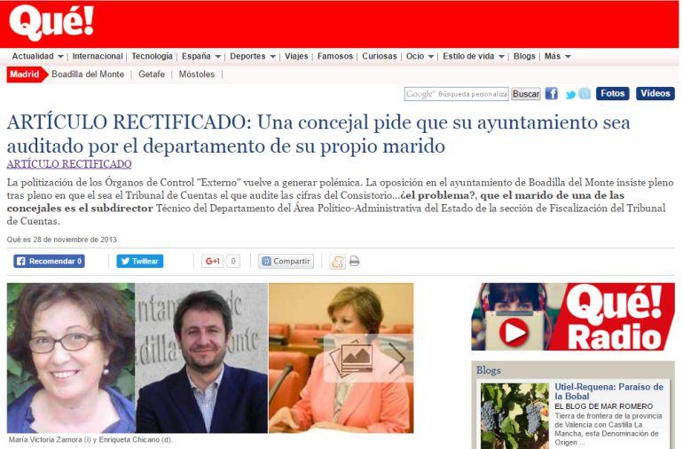 Condenado el diario Qué! por una noticia falsa sobre una concejala de Boadilla