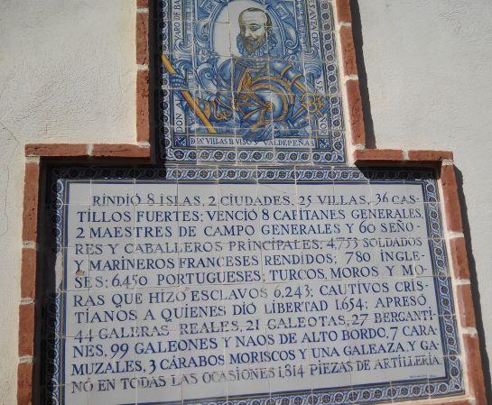 Mosaico donde se relatan en uno de los rincones del Palacio, las batallas que libró el Marqués de Santa Cruz, Don Alvaro de Bazán, el marino español más laureado, que ganó todas las batallas.