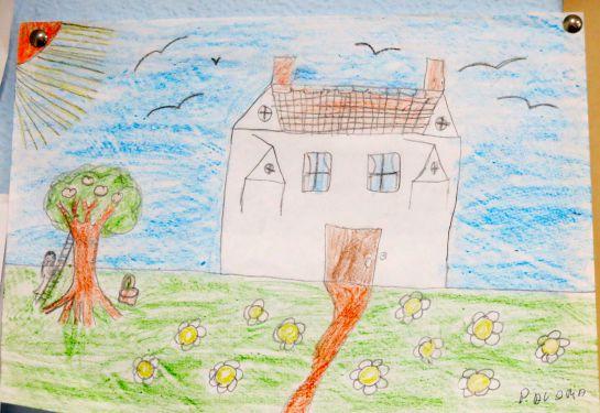 Uno de los dibujos expuestos en la consulta de Nefrología del Puerta del Mar