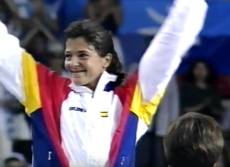 Miriam Blasco tras ganar la medalla de Oro en las Olimpiadas del 92