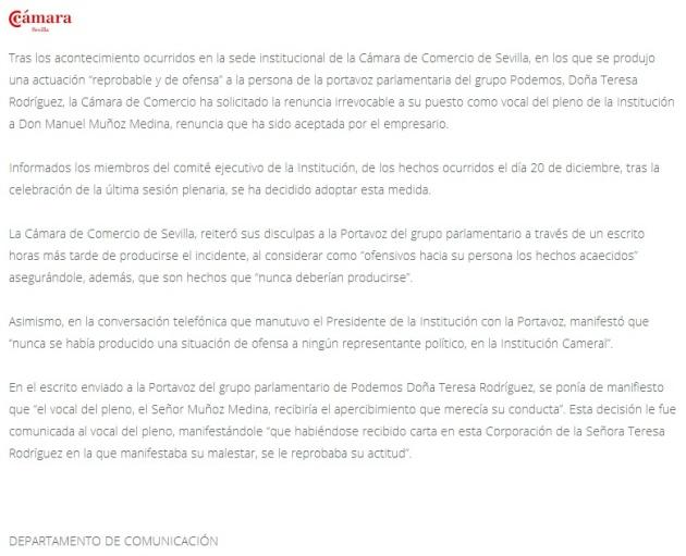 El comunicado de la Cámara de Comercio de Sevilla en el que se informa de la dimisión de Manuel Muñoz Medina.