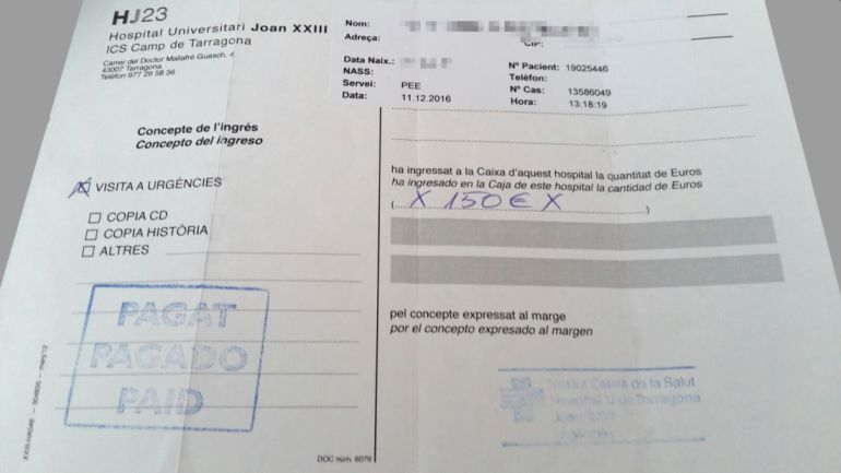 Factura de l'Hospital Joan XXIII de Tarragona per import de 150 euros que van ser cobrats a uns inmigrants per atendre el seu nadó amb problemes respiratoris