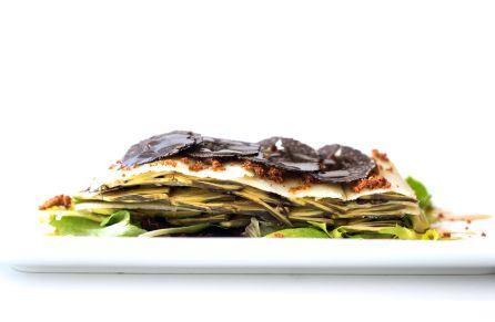 Láminas de alcachofa con parmesano y trufa