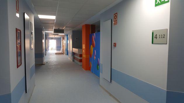Planta 4ª, ya reformada a falta solo de limpieza, en el antiguo hospital de Traumatología de Granada
