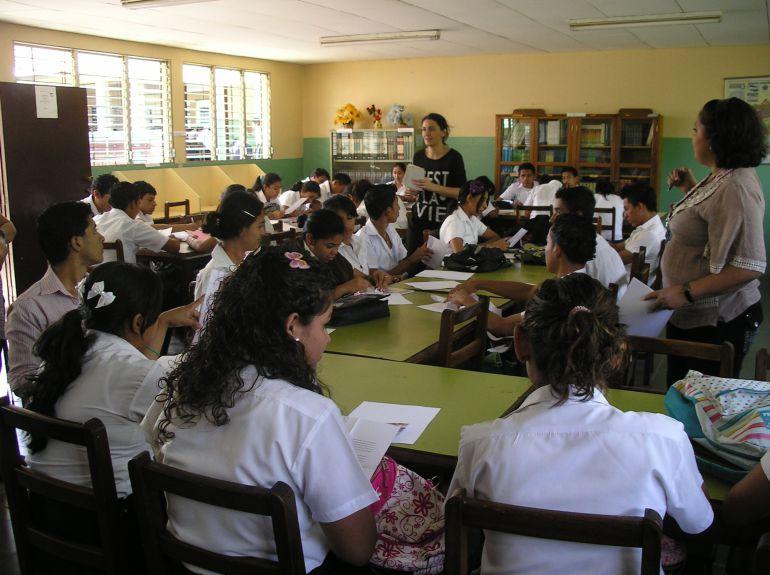 Una de las aulas de un colegio de Nicaragua