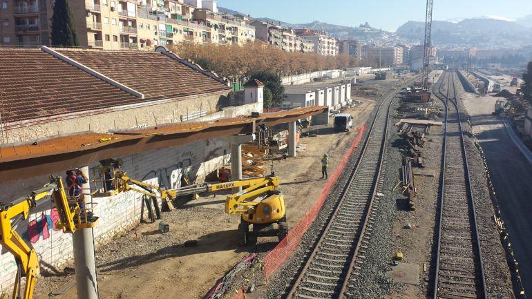 Obras del AVE en la estación de trenes de Granada
